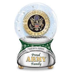 Proud US Army Family Musical Glitter Globe