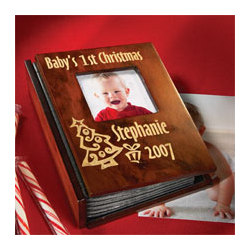 Personalized Baby's First Christmas Wood Photo Album