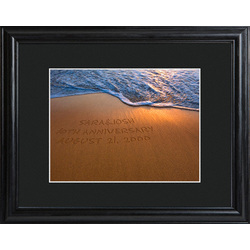 Personalized Sparkling Sands Print with Beveled Wood Frame