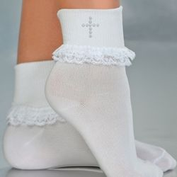 Girls First Communion Socks with Pearl Cross