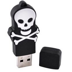 White Skull 4GB Flash Drive