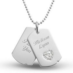 Cubic Zirconia Heart Dog Tag
