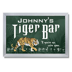 Personalized Tiger Bar Bar Sign with Metal Frame