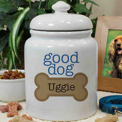 Personalized Ceramic Good Dog Treat Jar