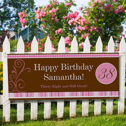 Floral and Stripes Personalized Birthday Banner