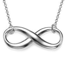 Elegant Eternity Necklace in Sterling Silver with Rollo Chain