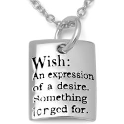 Sterling Silver Wish Sentiment Necklace