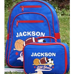 Personalized Boy's Backpack and Lunchbox Set