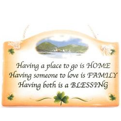 Irish Home, Family, Blessing Ceramic Wall Plaque