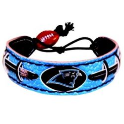 Carolina Panthers Leather Football Bracelet