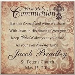 First Communion Personalized Canvas Wall Art