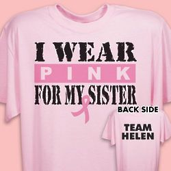 Personalized I Wear Pink Breast Cancer T-Shirt