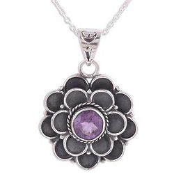 Purple Dahlia Amethyst Pendant Necklace