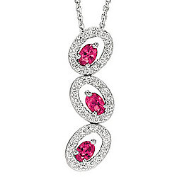 0.85 CTW Diamond Ruby Oval Past-Present-Future Necklace