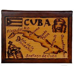Cuba Map Leather Photo Album in Natural