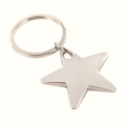 Personalized Engraved Silver Mirror Finish Star Key Chain