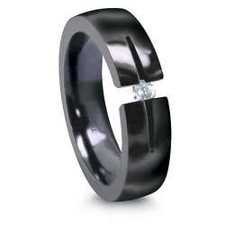 Black Titanium Ring with Tension Set Diamond