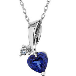 Created Blue Sapphire Heart Pendant with Diamond Accent