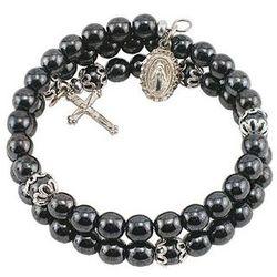 Faux Hematite 5-Decade Wrap Rosary Bracelet