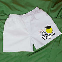 Personalized Off to the Real World White Boxer Shorts