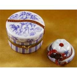 Hat Box Blue Toile Limoges Box