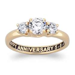 18K Gold Over Sterling Inside-Sculpted CZ Trio Engagement Ring