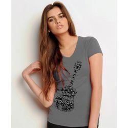 Ladies Gray V-Neck Guitar T-Shirt