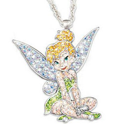 Disney Tinker Bell Crystal Pave Pendant Necklace