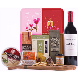 For My Valentine Gourmet Wine and Cheese Gift Set