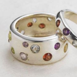 Scattered Stones Wide Band Ring