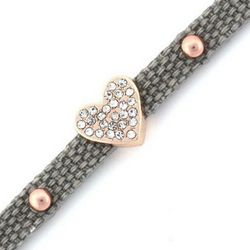 Grey Pave Heart Affirmation Bracelet