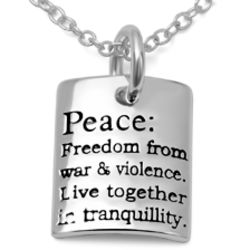 Sterling Silver Peace Sentiment Necklace