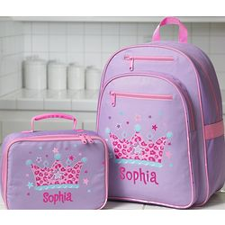 Personalized Girl's Backpack and Lunchbox Set