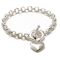 Sterling Silver Heart and Toggle Bracelet