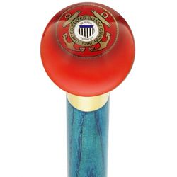 US Coast Guard Red Round Knob Cane with Ash Shaft