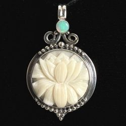 Ornate Lotus Pendant with Opal