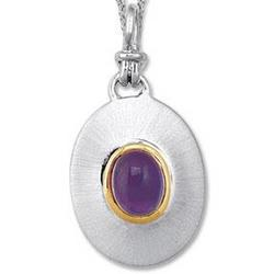 18k Yellow Gold Sterling Silver Amethyst Disk Pendant