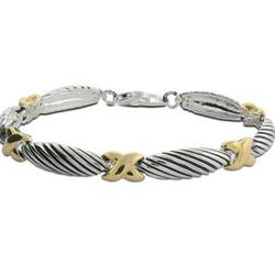 Designer Inspired Silver Cable Bracelet with Gold X