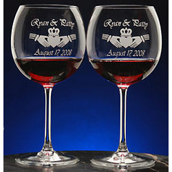 Personalized Claddagh Crystal Wine Glasses