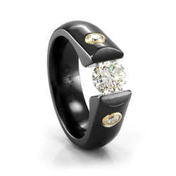 Ladies Black Titanium and Diamond Tension Set Engagement Ring