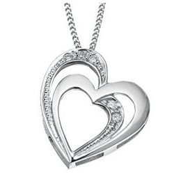 Double Floating Heart Diamond Necklace in 14K White Gold