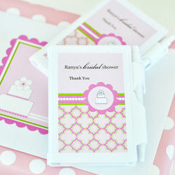 Personalized Pink Cake Themed Notebook Favor