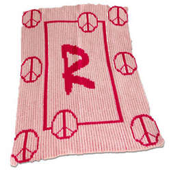 Personalized Stroller Blanket with Peace Signs