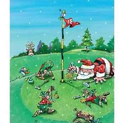Santa on the Green Golf Christmas Cards