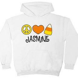 Personalized Peace, Love, Candy Corn Hoodie