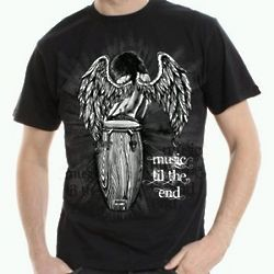 Men's Angel with Conga Drum Music Til the End Black T-Shirt