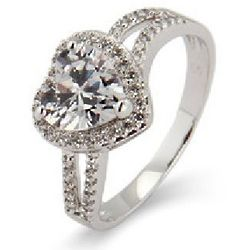 Sterling Silver Beautiful Heart Cubic Zirconia Promise Ring