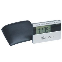 Pocket Atomic Travel Alarm Clock with Leather Case