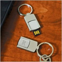 Brushed Silver Personalized USB Keychain
