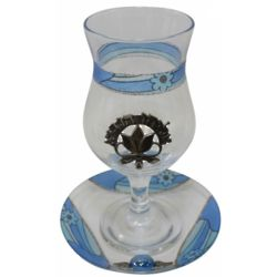 Israeli Floral Blue Pomegranate Cup